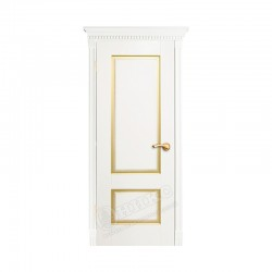 Дверь межкомнатная Оникс Марсель с фрезой (Белая эмаль с золотой патиной)