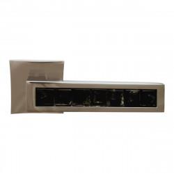 Ручка на розетке для межкомнатных дверей ORO&ORO 201 – 13E CP / BLACK GLASS