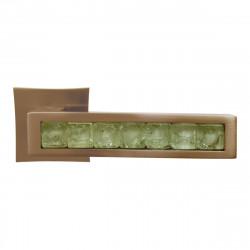 Ручка на розетке для межкомнатных дверей ORO&ORO 201 – 13E SN / WHITE GLASS