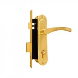 Замок врезной цилидрический (3 ключа) в комплекте с ручками на планке GCM B410-R257